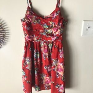 Red floral roxy sundress